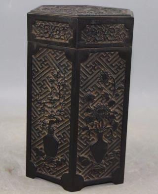 Chinese Old Wood Made Carved Human Pot Poetry Hexagon Tea Caddy Box photo