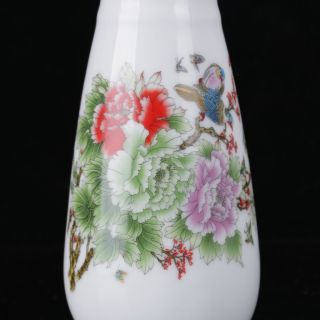 Chinese Famille Rose Porcelain Hand - Painted Flower & Bird Vase W Qianlong Mark photo