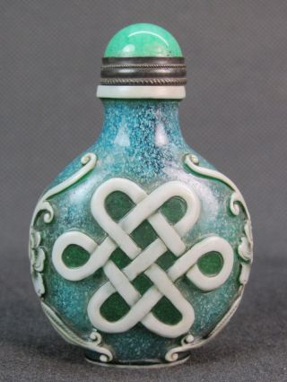 China handmade imitation turquoise phoenix snuff bottle
