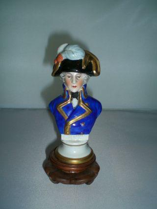 Capo Di Monte Military Bust Of Kellerman On Base / Porcelain Officer W/ Bicorne photo