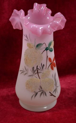Antique Victorian Cased Pink White Bristol Glass 8 1/4