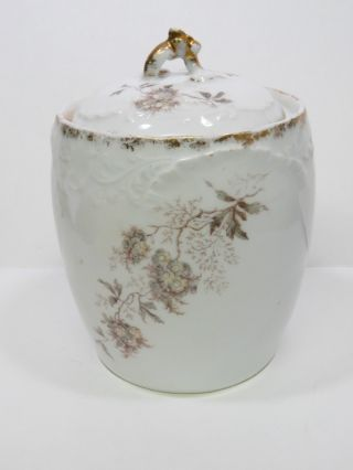German Porcelain Covered Biscuit Barrel Jar photo