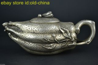 China Collectibel Old Teapot Noble Tibet Silver Handwork Carve Ginseng Decor photo