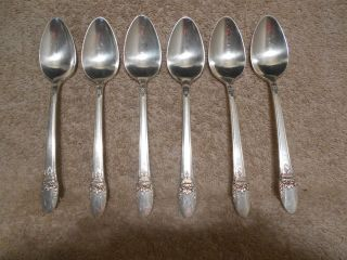 6 Rogers 1937 First Love Pattern Teaspoons Is Silverplate Flatware photo
