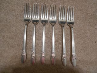 6 Rogers 1937 First Love Pattern Dinner Forks Is Silverplate Flatware photo