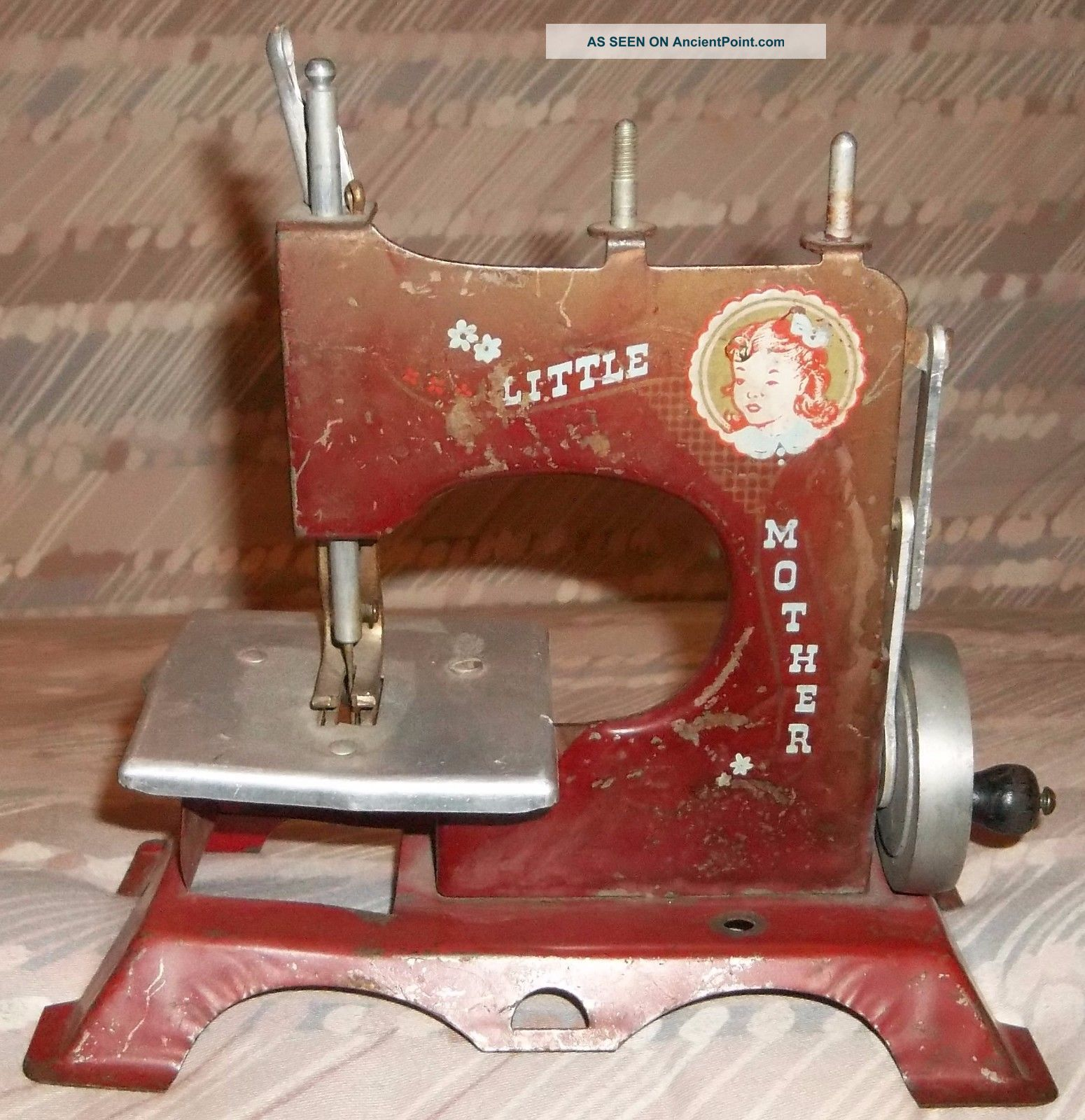 Vintage Antique Little Mother Artcraft Metal Childs Toy Sewing Machine Hand Turn Other Antique Sewing photo