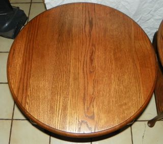 Round Solid Oak End Tables Side Tables (jlc - T439) photo