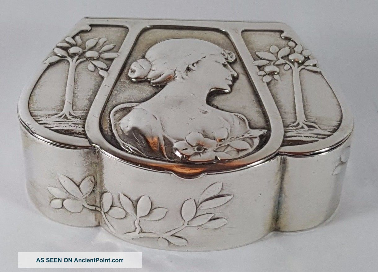 Antique Art Nouveau 800 Silver Embossed Snuff Pill Trinket Box Germany 1902 Boxes photo