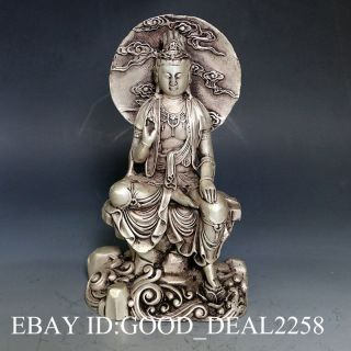 Vintage Oriental Chinese Silver Copper Hand - Carved Buddha Statue - - Buddha photo