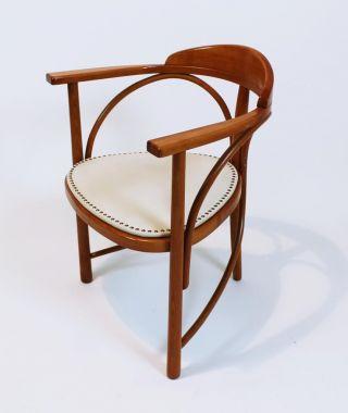 Vintage Jugendstil Thonet 81/ Rondo Bentwood Three - Legged Leather Armchair photo