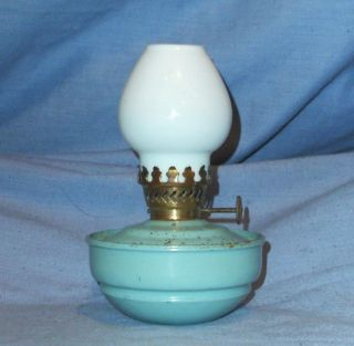 Vintage Pale Blue Kelly/nursery/pixie Oil Lamp photo