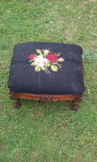 Vintage Carved Solid Walnut Ottoman Foot Stool Needlepoint Floral Top photo