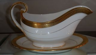 Antique Minton Porcelain Gold Encrusted Gravy Boat & Underplate G6285 photo