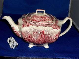 Johnson Brothers England Old Britain Castles Teapot Pink Color photo