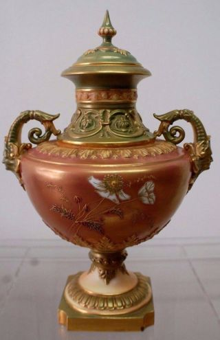 Stunning Royal Worcester 1880 ' S Handpainted Neoclassic Covered Urn photo