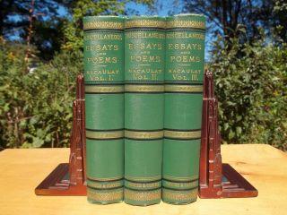 Fine Victorian Decorative Bindings 1879 Thomas Babington Macaulay Poems Essays photo
