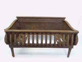 Antique Old Fire Cage Basket Hearthware Metal Cast Iron Parts Unbranded photo