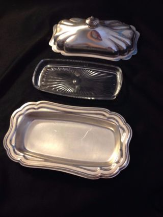 Vintage Gorham Heritage Yh18 Silver Plate Butter Dish Lid Glass Insert photo