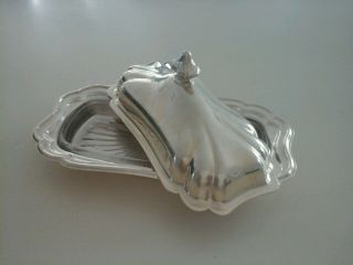 Gorham Heritage Yh18 Silver Plate Butter Dish Lid Glass Insert Tray Vintage photo
