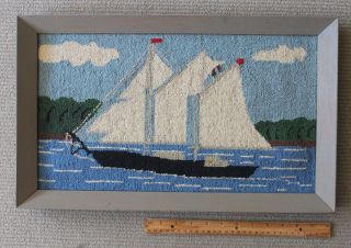 Vintage Folk Art Needlepoint Of A Sailboat Under Sail/1940s - 50s/very Cheery photo