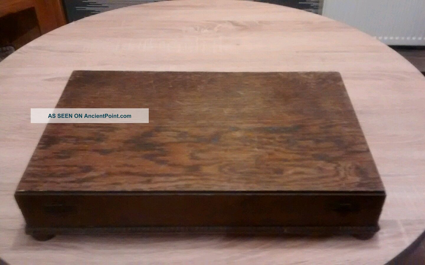 Solid Oak Anique Large Cutlery Box 1900-1950 photo