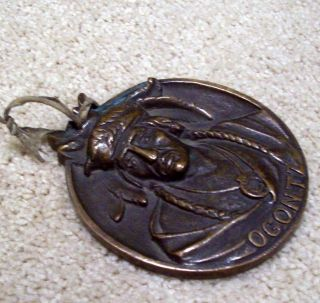 Chief Ogontz Warrior Native American Medal For Necklace Award Early 1900 ' S Rare photo