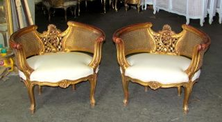 19th C.  Barrel Shaped Italian Baroque Caned Cane Bergere Chairs photo