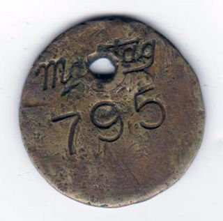 Rare Antique Brass Maytag Tag For Appliance Marked With No 795 - Scarce photo