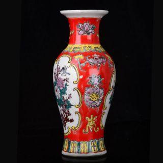Chinese Colorful Hand - Painted Peony Flower & Bird Porcelain Vase W Qianlong Mark photo