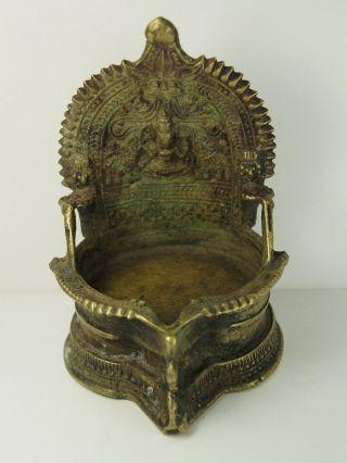 Lakshmi Brass Temple Oil Lamp India Antique Vintage - Wm 87 photo