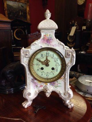 Antique French Porcelain Mantle Clock Strikes Key Royal Bonn photo