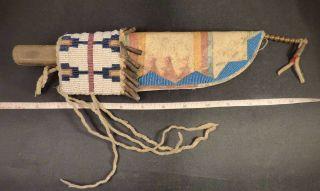 Antique Comanche Indian Dag Knife & Parfleche Beaded Sheath Twisted Braids 1850 photo
