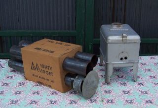 Vintage Mighty Midget Ms - 401 Wood Charcoal Burning Stove Ice Fishing Camper Tent photo