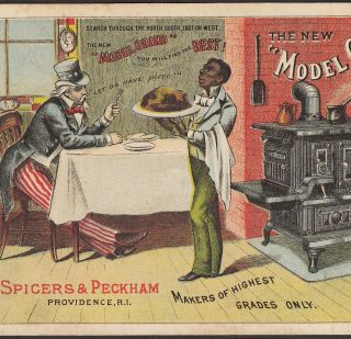 Spicers & Peckham Model Grand Range Stove Uncle Sam Black Advertising Trade Card photo