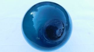 Japanese Dark Teal Blue Glass Float photo