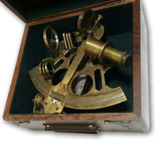 Royal Navy Large Antique Vintage Marine Nautical Box Sextant 1234 Ns 07 photo