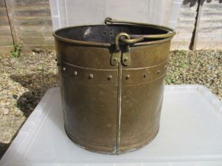 Antique Brass Planter Tub Coal Bin Log Basket Scuttle Plant Pot Rivets Vintage photo