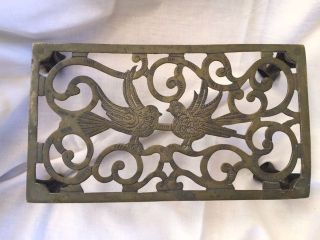 Antique Brass Bird Trivet Or Teapot Stand Claw Feet photo