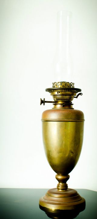 Hinks No.  2 Oil Lamp Brass Duplex Burner,  Key Rising,  Brass Lamp,  Chimney Tall photo