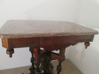 56918 Antique Victorian Marble Top Lamp Table Stand photo