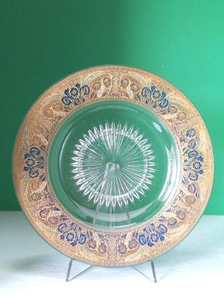 Vintage Cut Glass Bohemian Or American Plate Hand Painted Blue Enamel Gilded Art photo