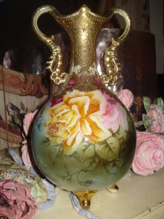 Antique Porcelain Vase Urn Roses Painted Gorgeous photo