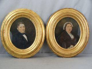 (2) Antique 19thc Victorian Era Lady & Gent Watercolor Portrait Painting & Frame photo