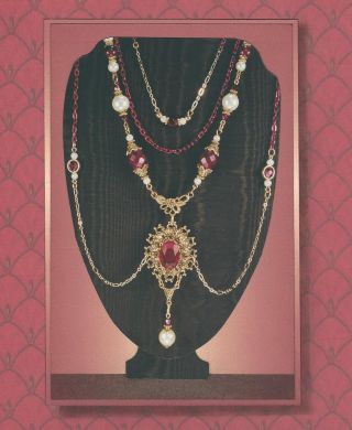 Gold Red Chain & Faux Pearl Renaissance Tudor Festoon Pendant Necklace 4187 photo