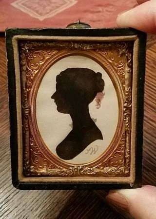 Stunning Antique Female Hand Cut Watercolored Signed Silhouette 1800s photo