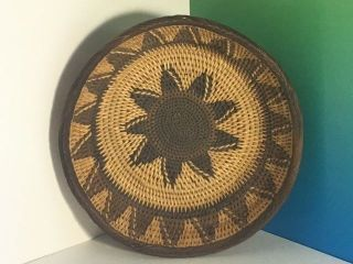 Vintage Native American Basket Very Tight Weave Brown Sun Indian Collectible Usa photo
