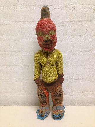 Cameroon: Old And Rare Tribal African Bamun Beads Figure. photo
