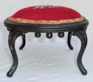 Antique Victorian Dog Needlepoint Low Round Foot Stool W/ Cast Iron Legs C.  1920 photo