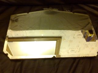Vintage Art Deco Frameless Wall Mirror,  Chain Wooden Backing photo