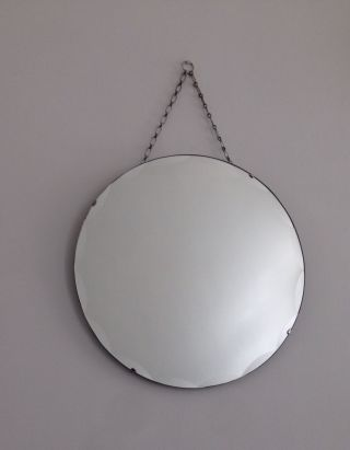 Vintage Art Deco Round Frameless Beveled Scalloped Edge Wall Mirror With Chain photo